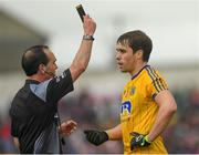 17 June 2018; David Murray of Roscommon is shown the black card by referee David Coldrick during the Connacht GAA Football Senior Championship Final match between Roscommon and Galway at Dr Hyde Park in Roscommon. Photo by Piaras Ó Mídheach/Sportsfile
