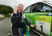 17 June 2018; Manus Kelly in a Subaru Impreza WRC S12B celebrates at the end of stage 20 Glen after winning during the Joule Donegal International Rally - Day 3 in Letterkenny, Donegal. Photo by Philip Fitzpatrick/Sportsfile