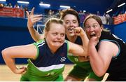 17 June 2018; Grace O'Brien, left, Shauna Stewart of Connaught Female Team 1 and Fiona Byrne of Eastern Female Team 2 following the Ladies Basketball Final match between Connaught Female 1 and Eastern Female 2 during the Special Olympics 2018 Ireland Games at the FAI National Training Centre in Abbotstown, Dublin. Photo by Tom Beary/Sportsfile