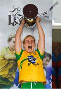 17 June 2018; Donegal captain Karen Guthrie lifts the cup after the TG4 Ulster Ladies Football Senior Championship Final match between Armagh and Donegal at Brewster Park in Enniskillen, Co. Fermanagh. Photo by Daire Brennan/Sportsfile