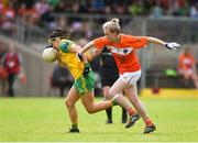 17 June 2018; Geraldine McLaughlin of Donegal in action against Shauna Grey of Armagh during the TG4 Ulster Ladies Football Senior Championship Final match between Armagh and Donegal at Brewster Park in Enniskillen, Co. Fermanagh. Photo by Daire Brennan/Sportsfile