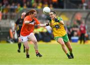 17 June 2018; Geraldine McLaughlin of Donegal in action against Caoimhe Morgan of Armagh during the TG4 Ulster Ladies Football Senior Championship Final match between Armagh and Donegal at Brewster Park in Enniskillen, Co. Fermanagh. Photo by Daire Brennan/Sportsfile