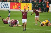 17 June 2018; Cathal Sweeney of Galway celebrates at the final whistle of the Connacht GAA Football Senior Championship Final match between Roscommon and Galway at Dr Hyde Park in Roscommon. Photo by Ramsey Cardy/Sportsfile