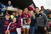 17 June 2018; Galway captain Damien Comer with his mother Marie, sister Nicola and brother Jonathan following the Connacht GAA Football Senior Championship Final match between Roscommon and Galway at Dr Hyde Park in Roscommon. Photo by Ramsey Cardy/Sportsfile