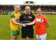 17 June 2018; Donegal captain Karen Guthrie and Armagh captain Caoimhe Morgan shake hands in the presence of referee Brian McCallion ahead of the TG4 Ulster Ladies Football Senior Championship Final match between Armagh and Donegal at Brewster Park in Enniskillen, Co. Fermanagh. Photo by Daire Brennan/Sportsfile