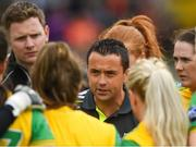 17 June 2018; Donegal selector Maxi Curran speaks to his players ahead of the TG4 Ulster Ladies Football Senior Championship Final match between Armagh and Donegal at Brewster Park in Enniskillen, Co. Fermanagh. Photo by Daire Brennan/Sportsfile