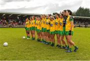 17 June 2018; The Donegal team stand together for the national anthem ahead of the TG4 Ulster Ladies Football Senior Championship Final match between Armagh and Donegal at Brewster Park in Enniskillen, Co. Fermanagh. Photo by Daire Brennan/Sportsfile