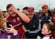17 June 2018; Galway captain Damien Comer celebrates with supporters after the Connacht GAA Football Senior Championship Final match between Roscommon and Galway at Dr Hyde Park in Roscommon. Photo by Piaras Ó Mídheach/Sportsfile