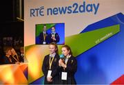 18 June 2018; Students from Roxboro National School, Doireain, Roscommon, speaking on RTE news2day, during the JEP National Showcase Day in the RDS Simmonscourt, Ballsbridge, Dublin. Photo by Eóin Noonan/Sportsfile