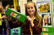 18 June 2018; Molly Crotty Noonan of Ballygiblin National School, Ballygiblin, Co Cork, from 'The Positivity Box' stand at the JEP National Showcase Day in the RDS Simmonscourt, Ballsbridge, Dublin Photo by David Fitzgerald/Sportsfile