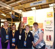 18 June 2018; Students from Barnatra National School, Ballina, Co. Mayo, with their teacher Olivia Lynskey at the Pamper Package stand during the JEP National Showcase Day in the RDS Simmonscourt, Ballsbridge, Dublin. Photo by Eóin Noonan/Sportsfile
