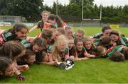 17 June 2018; Mayo players celebrate with the trophy after the All-Ireland Ladies Football U14 B Final between Mayo and Tipperary at Duggan Park in Ballinasloe, Co. Galway. Photo by Harry Murphy/Sportsfile