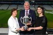 18 June 2018; Uachtarán Chumann Lúthchleas Gael John Horan with Joe McDonagh's wife Peig Mhic Dhonncha and his daughter Muireann Nic Dhonncha during the unveiling of the Joe McDonagh and the launch of the Christy Ring, Nicky Rackard and Lory Meagher Cup Finals at Croke Park in Dublin. Photo by Piaras Ó Mídheach/Sportsfile