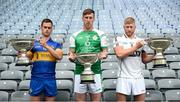 18 June 2018; Finalists, from left, Ronan Crowley of Lancashire, with the Lory Meagher Cup, Brian Regan of London, with the Christy Cup, and Niall McKenna, Warwickshire, with the Nicky Rackard Cup, during the unveiling of the Joe McDonagh and the launch of the Christy Ring, Nicky Rackard and Lory Meagher Cup Finals at Croke Park in Dublin. Photo by Piaras Ó Mídheach/Sportsfile