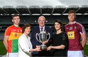 18 June 2018; Uachtarán Chumann Lúthchleas Gael John Horan with Joe McDonagh's wife Peig Mhic Dhonncha and his daughter Muireann Nic Dhonncha with Carlow joint-captain Diarmuid Byrne and Westmeath captain Tommy Doyle during the unveiling of the Joe McDonagh and the launch of the Christy Ring, Nicky Rackard and Lory Meagher Cup Finals at Croke Park in Dublin. Photo by Piaras Ó Mídheach/Sportsfile