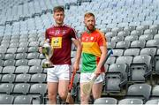 18 June 2018; Joe McDonagh Cup finalists Tommy Doyle of Westmeath and Richard Coady of Carlow during the unveiling of the Joe McDonagh and the launch of the Christy Ring, Nicky Rackard and Lory Meagher Cup Finals at Croke Park in Dublin. Photo by Piaras Ó Mídheach/Sportsfile