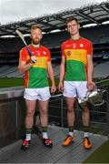 18 June 2018; Joe McDonagh Cup finalists, Carlow joint captains, Richard Coady, left, and Diarmuid Byrne during the unveiling of the Joe McDonagh and the launch of the Christy Ring, Nicky Rackard and Lory Meagher Cup Finals at Croke Park in Dublin. Photo by Piaras Ó Mídheach/Sportsfile