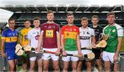 18 June 2018; Finalists, from left, Ronan Crowley, Lancashire, Danny Cullen of Donegal, Brian Byrne of Kildare, Tommy Doyle of Westmeath, Diarmuid Byrne of Carlow, Niall McKenna of Warwickshire, Keith Raymond of Sligo, and Brian Regan of London, during the unveiling of the Joe McDonagh and the launch of the Christy Ring, Nicky Rackard and Lory Meagher Cup Finals at Croke Park in Dublin. Photo by Piaras Ó Mídheach/Sportsfile