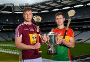 18 June 2018; Joe McDonagh Cup finalists Tommy Doyle of Westmeath and Diarmuid Byrne of Carlow during the unveiling of the Joe McDonagh and the launch of the Christy Ring, Nicky Rackard and Lory Meagher Cup Finals at Croke Park in Dublin. Photo by Piaras Ó Mídheach/Sportsfile