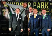 18 June 2018; Boxers, from left, Luke Jackson, Tyson Fury, promoter Frank Warren, Carl Frampton and Paddy Barnes following a press conference at the National Stadium at Windsor Park in Belfast. Photo by Seb Daly/Sportsfile