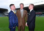 18 June 2018; Carl Frampton, left, promoter Frank Warren, centre, and Luke Jackson, right, following a press conference at the National Stadium at Windsor Park in Belfast. Photo by Seb Daly/Sportsfile