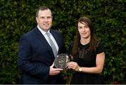 18 June 2018; Seán Reid, Deputy General Manager of the Croke Park Hotel, presents Sinéad Aherne of Dublin with The Croke Park Hotel and LGFA Player of the Month award for May, at The Croke Park Hotel, Jones Road, in Dublin. Sinéad captained Dublin to the county's first Lidl Ladies National Football League Division 1 title on May 6, scoring 1-9 in the final against Mayo at Parnell Park and earning the prestigious Player of the Match award.  Photo by Piaras Ó Mídheach/Sportsfile