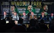 18 June 2018; Boxers, from left, Luke Jackson, Tyson Fury, promoters John Rawling and Frank Warren, Carl Frampton, and Paddy Barnes during a press conference at the National Stadium at Windsor Park in Belfast. Photo by Seb Daly/Sportsfile