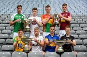 18 June 2018; Finalists, back row from left, Brian Regan of London, and Brian Byrne of Kildare, both Christy Ring Cup, Diarmuid Byrne of Carlow and Tommy Doyle of Westmeath, both Joe McDonagh Cup. Front row, Danny Cullen of Donegal, and Niall McKenna of Warwickshire, both Nicky Rackard cup, and Ronan Crowley of Lancashire and Keith Raymond of Sligo, both Lory Meagher Cup, during the unveiling of the Joe McDonagh and the launch of the Christy Ring, Nicky Rackard and Lory Meagher Cup Finals at Croke Park in Dublin. Photo by Piaras Ó Mídheach/Sportsfile