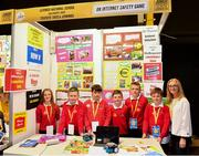 18 June 2018; Students from Lahinch National School, Hollymount, Mayo, with their teacher Sheila Jennings at teh 'AN Internet Safety Game' stand during the JEP National Showcase Day in the RDS Simmonscourt, Ballsbridge, Dublin. Photo by Eóin Noonan/Sportsfile