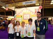18 June 2018; Students from Shountrade National School, Adare, Limerick, with their teacher William Hickey at the 'Creative Canvas' stand during the JEP National Showcase Day in the RDS Simmonscourt, Ballsbridge, Dublin. Photo by Eóin Noonan/Sportsfile