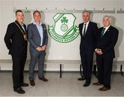 18 June 2018; Cllr Paul Gogarty, Mayor South Dublin County Council, left, Jonathan Roche, Chairman, Shamrock Rovers FC, John Delaney, CEO, Football Association of Ireland, and Tony Fitzgerald, President, Football Association of Ireland, right, pose for a photograph at the dressing room during the official opening of Shamrock Rovers state of the art 11-a-side and 7-a-side grass pitches and facilities at Roadstone Group Sports Club, Kingswood, Dublin. Photo by Stephen McCarthy/Sportsfile