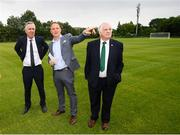 18 June 2018; John Delaney, CEO, Football Association of Ireland, left, Jonathan Roche, Chairman, Shamrock Rovers FC, and Tony Fitzgerald, President, Football Association of Ireland, right, in attendance at the official opening of Shamrock Rovers state of the art 11-a-side and 7-a-side grass pitches and facilities at Roadstone Group Sports Club, Kingswood, Dublin. Photo by Stephen McCarthy/Sportsfile