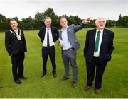 18 June 2018; Cllr Paul Gogarty, Mayor South Dublin County Council, left, John Delaney, CEO, Football Association of Ireland, Jonathan Roche, Chairman, Shamrock Rovers FC, and Tony Fitzgerald, President, Football Association of Ireland, right, in attendance at the official opening of Shamrock Rovers state of the art 11-a-side and 7-a-side grass pitches and facilities at Roadstone Group Sports Club, Kingswood, Dublin. Photo by Stephen McCarthy/Sportsfile