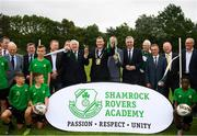 18 June 2018; Tony Fitzgerald, President, Football Association of Ireland, Cllr Paul Gogarty, Mayor South Dublin County Council, Jonathan Roche, Chairman, Shamrock Rovers FC, and John Delaney, CEO, Football Association of Ireland, officially cut the ribbon in the company of FAI Council members and Shamrock Rovers Board members, players and staff at the official opening of Shamrock Rovers state of the art 11-a-side and 7-a-side grass pitches and facilities at Roadstone Group Sports Club, Kingswood, Dublin. Photo by Stephen McCarthy/Sportsfile