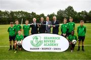 18 June 2018; Tony Fitzgerald, President, Football Association of Ireland, left, Cllr Paul Gogarty, Mayor South Dublin County Council, Jonathan Roche, Chairman, Shamrock Rovers FC, and John Delaney, CEO, Football Association of Ireland, right, with members of the Shamrock Rovers U13 & U14 teams at the official opening of Shamrock Rovers state of the art 11-a-side and 7-a-side grass pitches and facilities at Roadstone Group Sports Club, Kingswood, Dublin. Photo by Stephen McCarthy/Sportsfile