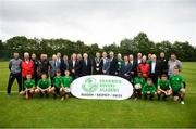 18 June 2018; Tony Fitzgerald, President, Football Association of Ireland, Cllr Paul Gogarty, Mayor South Dublin County Council, Jonathan Roche, Chairman, Shamrock Rovers FC, and John Delaney, CEO, Football Association of Ireland, in the company of FAI Council members and Shamrock Rovers Board members, players, staff and associated club at the official opening of Shamrock Rovers state of the art 11-a-side and 7-a-side grass pitches and facilities at Roadstone Group Sports Club, Kingswood, Dublin. Photo by Stephen McCarthy/Sportsfile