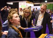 18 June 2018; Director-General of RTÉ, Dee Forbes, and Jerry Kennelly, JEP Chairman, meet the Class of the Year award winners Gaelscoil An Inbhir Mhoir, Co. Wicklow, including Ava Crowe at the JEP National Showcase Day in the RDS Simmonscourt, Ballsbridge, Dublin Photo by David Fitzgerald/Sportsfile