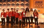 18 June 2018; Presenter/Reporter with RTÉ news2day, Zainab Boladale, presents the Change Agents award 2018 to Lehinch National School, Co. Mayo, at the JEP National Showcase Day in the RDS Simmonscourt, Ballsbridge, Dublin Photo by David Fitzgerald/Sportsfile