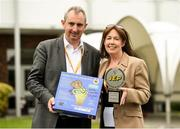 18 June 2018; Jerry Kennelly, Chairman JEP, alongside winning teacher for the Class of the Year 2018 award Caroline McCarthy of Gaelscoil An Inbhir Mhoir, Co. Wicklow at the JEP National Showcase Day in the RDS Simmonscourt, Ballsbridge, Dublin Photo by David Fitzgerald/Sportsfile