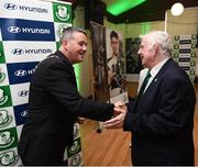 18 June 2018; Cllr Paul Gogarty, Mayor South Dublin County Council, and Tony Fitzgerald, President, Football Association of Ireland, in attendance at the official opening of Shamrock Rovers state of the art 11-a-side and 7-a-side grass pitches and facilities at Roadstone Group Sports Club, Kingswood, Dublin. Photo by Stephen McCarthy/Sportsfile