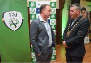 18 June 2018; Jonathan Roche, Chairman, Shamrock Rovers FC, and Cllr Paul Gogarty, Mayor South Dublin County Council, in attendance at the official opening of Shamrock Rovers state of the art 11-a-side and 7-a-side grass pitches and facilities at Roadstone Group Sports Club, Kingswood, Dublin. Photo by Stephen McCarthy/Sportsfile