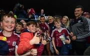 17 June 2018; Galway captain Damien Comer with supporters following the Connacht GAA Football Senior Championship Final match between Roscommon and Galway at Dr Hyde Park in Roscommon. Photo by Ramsey Cardy/Sportsfile