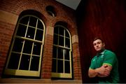 18 June 2018; Jordan Larmour poses for a portrait after an Ireland rugby press conference in Sydney, Australia. Photo by Brendan Moran/Sportsfile