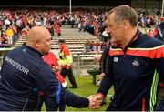 17 June 2018; Waterford manager Derek McGrath, left, shakes hands with Cork manager John Meyler following the Munster GAA Hurling Senior Championship Round 5 match between Waterford and Cork at Semple Stadium in Thurles, Tipperary. Photo by Matt Browne/Sportsfile