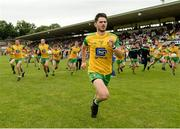 10 June 2018; Ryan McHugh of Donegal lading the players on to the pitch before the Ulster GAA Football Senior Championship Semi-Final match between Donegal and Down at St Tiernach's Park in Clones, Monaghan. Photo by Oliver McVeigh/Sportsfile