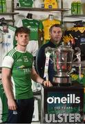 19 June 2018; Fermanagh Manager Rory Gallagher, right, and Tomas Corrigan of Fermanagh during an Ulster GAA Senior Football Championship Final press conference at O'Neill's Sports Store in Strabane, Co. Tyrone. Photo by Oliver McVeigh/Sportsfile