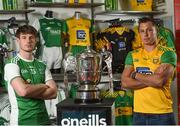 19 June 2018; Tomas Corrigan of Fermanagh and Paul Brennan of Donegal during an Ulster GAA Senior Football Championship Final press conference at O'Neill's Sports Store in Strabane, Co. Tyrone. Photo by Oliver McVeigh/Sportsfile
