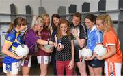 20 June 2018; The Ladies Gaelic Football Association and Orreco have announced a groundbreaking technology partnership which will see LGFA promote a new app for women, created by the world-leading Irish sports data, biomarker and performance experts. FitrWoman provides personalised day-to-day evidence based training and nutrition suggestions tailored to the changing hormones in a woman's menstrual cycle. Pictured are, from left, Sinéad Delahunty of Tipperary, Bernie Breen of Wexford, Tracey Leonard of Galway, FitrWoman Product Development Manager Gráinne Conefrey, Orreco scientist Dr. Georgie Bruinvels, Noelle Gormley of Sligo, Noëlle Healy of Dublin, and Marian McGuinness of Armagh, at today's launch at Croke Park in Dublin. Photo by Piaras Ó Mídheach/Sportsfile