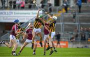 20 June 2018; Brian Concannon of Galway in action against Tommy Walsh, left, and Michael Cody of Kilkenny during the Bord Gáis Energy Leinster GAA Hurling U21 Championship Semi-Final match between Kilkenny and Galway at Bord Na Mona O'Connor Park in Tullamore, Co Offaly. Photo by Harry Murphy/Sportsfile