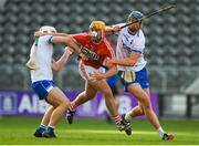20 June 2018; Declan Dalton of Cork is tackled by Mikey Daykin, left, and Conor Prunty of Waterford during the Bord Gais Energy Munster Under 21 Hurling Championship Semi-Final match between Cork and Waterford at Pairc Ui Chaoimh in Cork. Photo by Eóin Noonan/Sportsfile